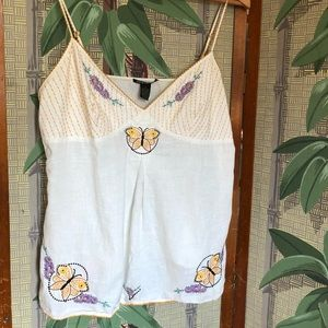 Lucky brand embroidered Butterfly tank